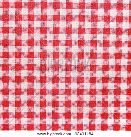 Red Linen Tablecloth background.