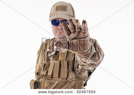 Military Man Showing Stop Gesture
