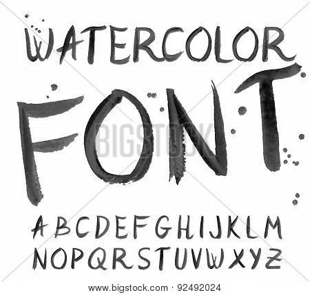 Vector Black Watercolor Font, Handwritten Letters. Abc