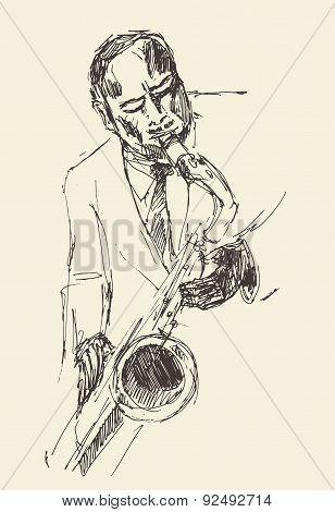 JAZZ Man Playing the Saxophone  Hand Drawn, Sketch