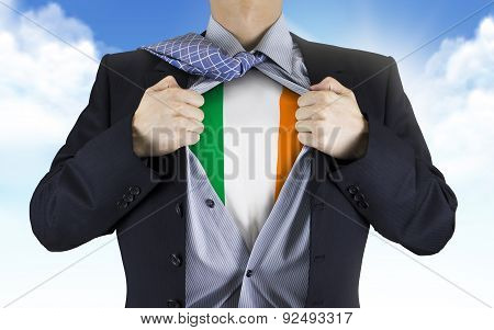 Businessman Showing Ireland Flag Underneath His Shirt
