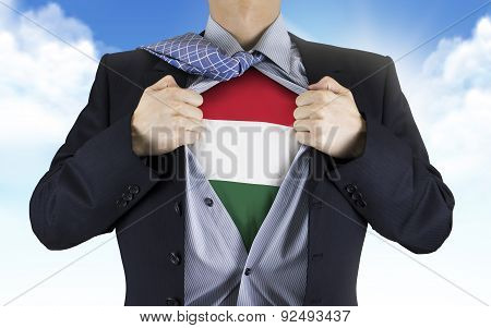 Businessman Showing Hungarian Flag Underneath His Shirt