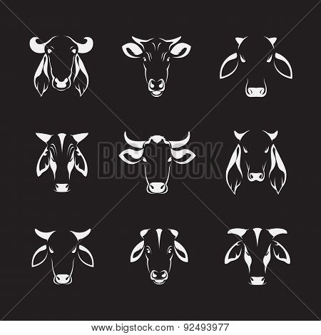 Vector Set Of Cow Head On Black Background