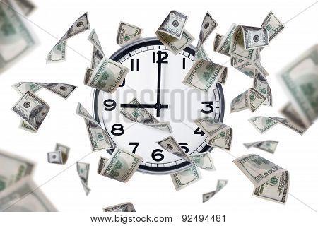 Wall Clock And Dollar Banknotes