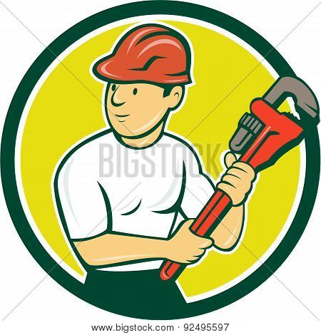 Plumber Holding Monkey Wrench Circle Cartoon