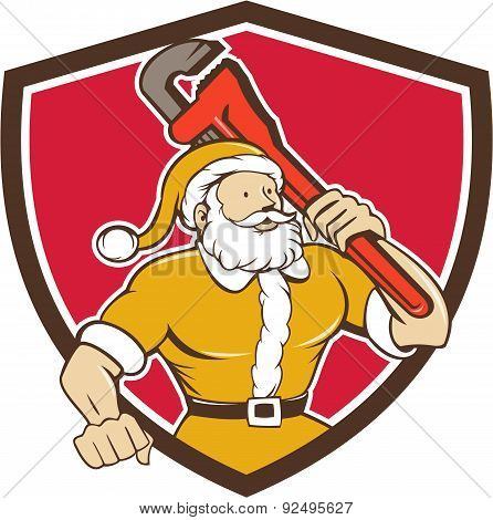 Santa Claus Plumber Monkey Wrench Shield Cartoon
