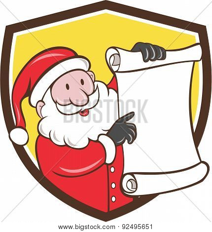 Santa Claus Paper Scroll Pointing Shield Cartoon