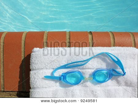 Goggles On A Swiimng Pool Edge