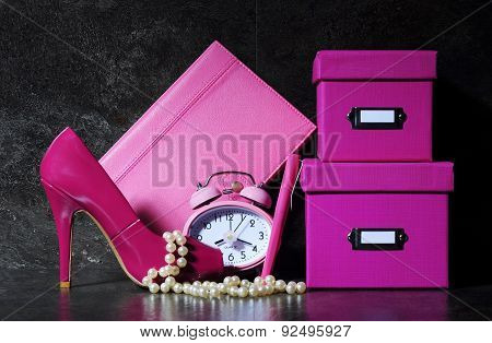 Ladies Pink Female Office Desk