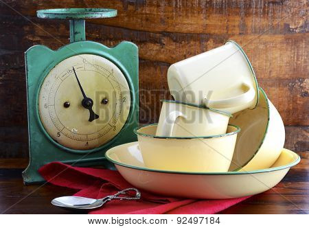 Vintage Kitchen Scales And Tin Cups And Pans