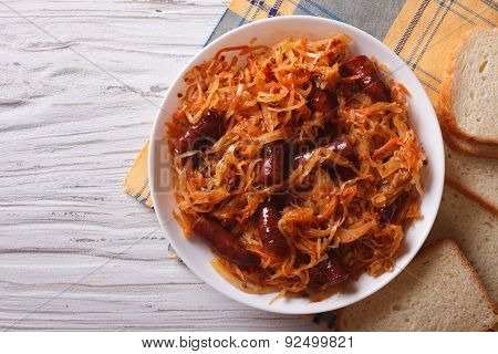 Stewed Cabbage With Sausages Horizontal Top View