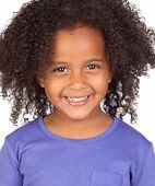 stock photo of afro hair  - Adorable african little girl with beautiful hairstyle isolated over white - JPG