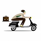 image of vespa  - Vector illustration on white background featuring creative man with briefcase rushes on a retro scooter without helmet - JPG