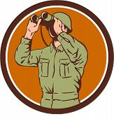 picture of world war one  - Illustration of a World War One American soldier serviceman looking through the binoculars set inside circle on isolated background done in retro style - JPG