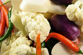 pic of pickled vegetables  - Mix of Fresh and colorful Vegetables ready for Pickles - JPG