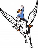 stock photo of pegasus  - Illustration of a cowboy with arm raised riding pegasus flying horse set on isolated white background done in cartoon style - JPG