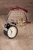 stock photo of private investigator  - Deerstalker Hat and magnifying glass on Old Wooden table - JPG