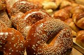 image of bagel  - Sesame bagels on display in a bakery. Food background and texture