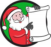 stock photo of nicholas  - Illustration of santa claus saint nicholas father christmas smiling holding paper scroll pointing to the list set inside circle on isolated background done in cartoon style - JPG