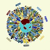 pic of continent  - Vector illustration of Monsters Population with continents of Our World  - JPG