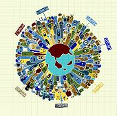picture of population  - Vector illustration of Monsters Population with continents of Our World  - JPG