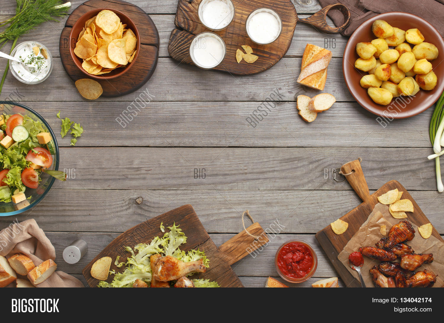Different food cooked on grill image photo bigstock