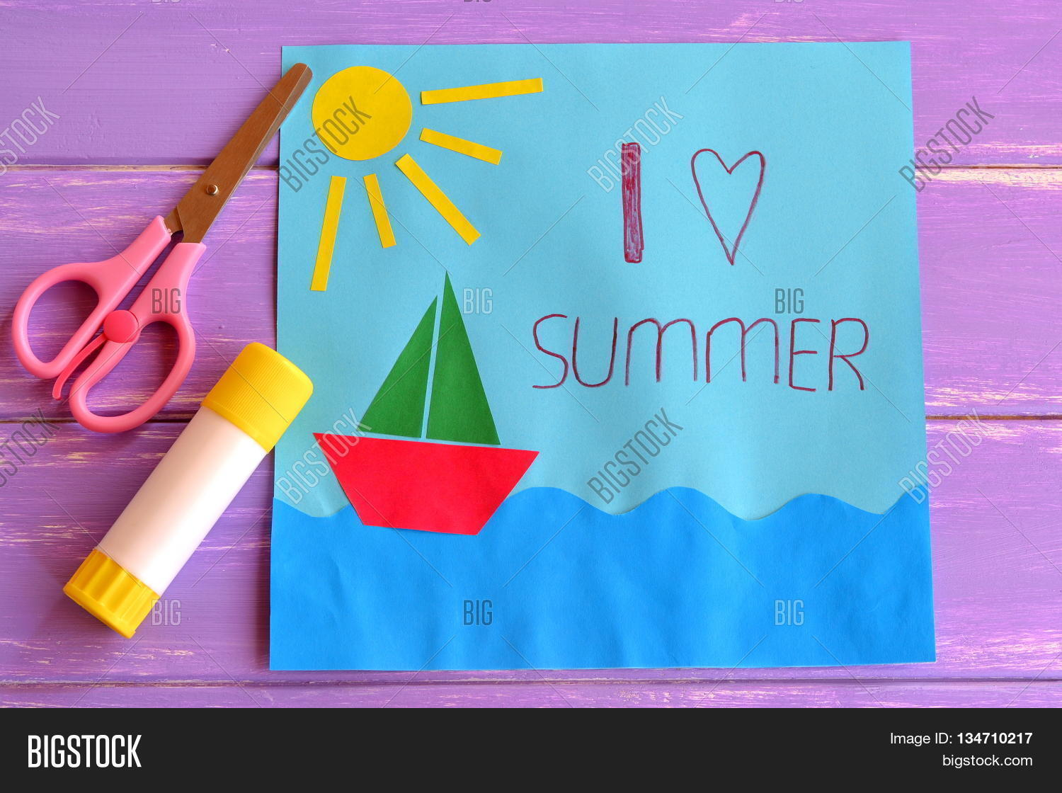 Colorful Paper Card With Ship Sea Sun And Words I Love Summer Scissors