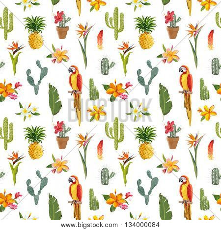 Tropical Background. Parrot Bird. Cactus Background. Tropical Flowers. Seamless Pattern. Vector