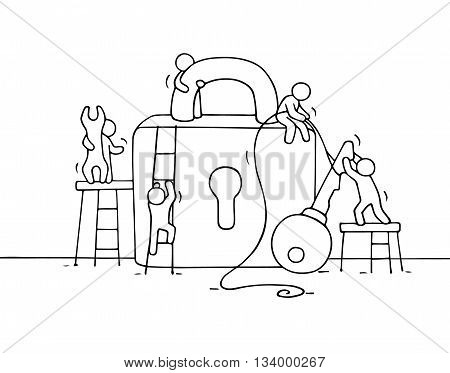 Sketch of working little people with lock teamwork. Doodle cute miniature scene of workers about security. Hand drawn cartoon vector illustration for business design.