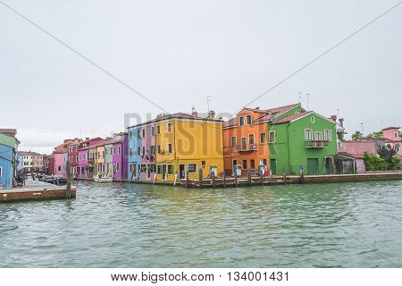Colorful Cityscape Of Murano, An Island Nearby Venice, Italy