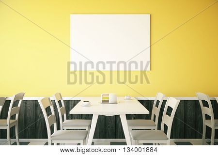 Cafe interior with cake on table and blank poster on bright yellow wall. Mock up 3D Rendering