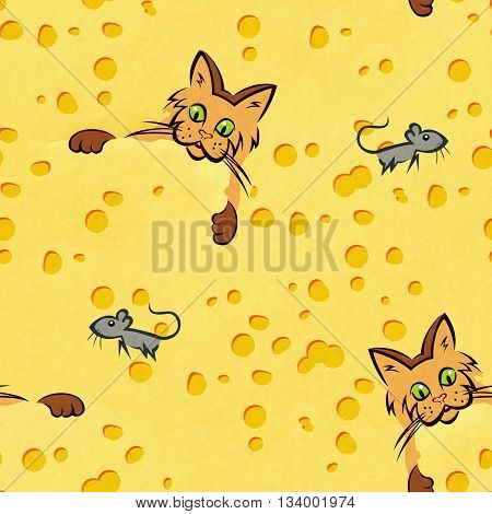 Cat and mouse, a cheesy wallpaper pattern.