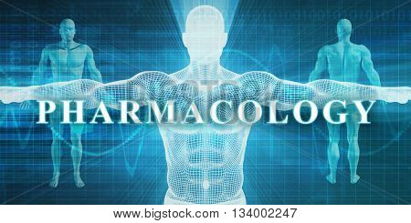 Pharmacology as a Medical Specialty Field or Department 3d Illustration Render