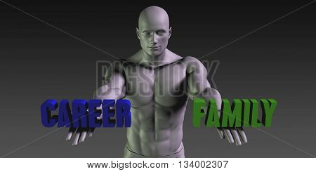 Career or Family as a Versus Choice of Different Belief 3d Illustration Render