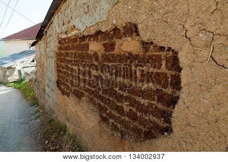 Adobe clay brick , mud brick house in Ohrid, Old Villages in Macedonia.