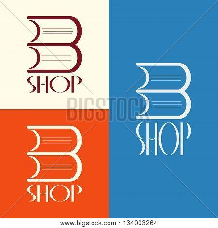 Vector book shop logo. Book shop emblem. Book shop display window element