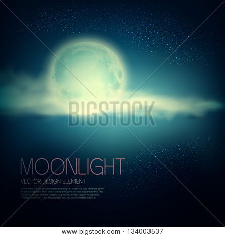 Vintage vector background with full moon and clouds on a dark blue background