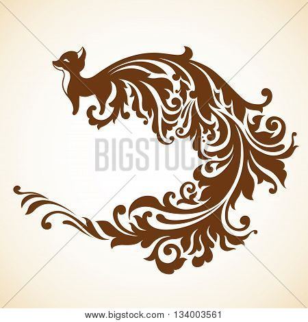 Decorative fox with long decorative tail and place for text. Vector illustration
