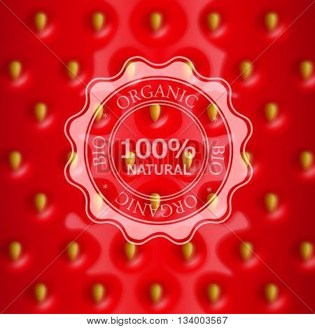 vector strawberry background with blurred and emblem