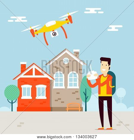 The concept of video vloging with the drone video capture. Flying copter managing by the man character. Outdoor view. Vector flat illustration. Very easy to edit.