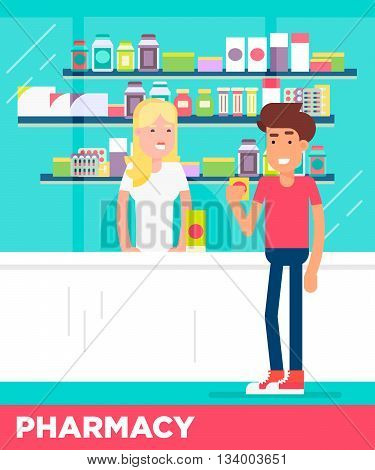 Modern Flat Characters Of Two Young Men In The Pharmacy Store.