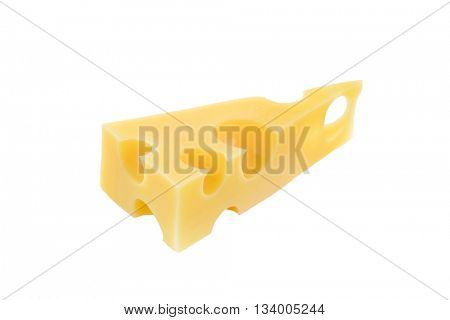 piece of Emmentaler cheese isolated on white