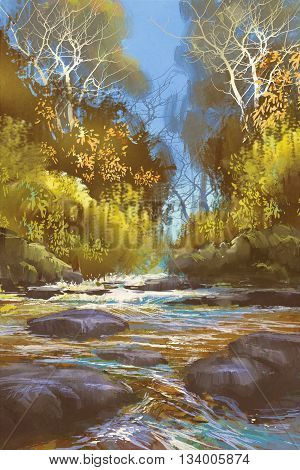 landscape painting of creek in forest, river, waterfall, illustration