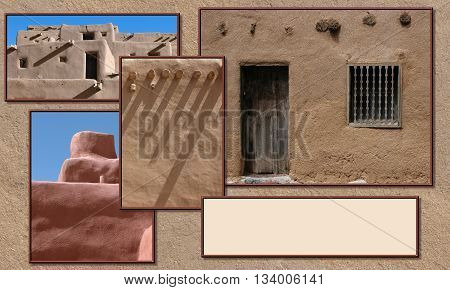 Southwestern adobe textures with copy space. Traditional architecture.