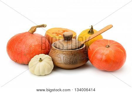 collection pumpkins and clay pot isolated on white background