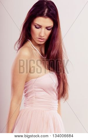 Brunette Woman In Bright Dress