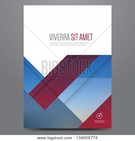 Geometric business brochure, flyer, poster, annual report, magazine cover vector template. Modern blue and red corporate design.