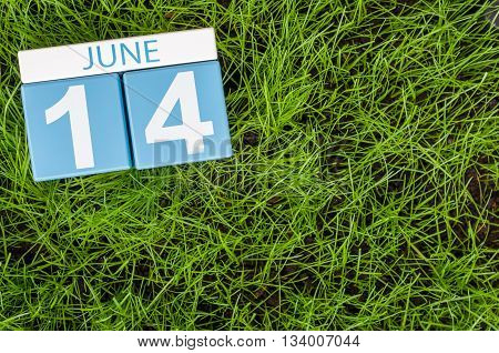 June 14th. Image of june 14 wooden color calendar on greengrass lawn background. Summer day, empty space for text.