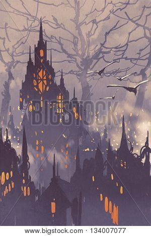 fantasy cityfairy town with big trees, landscape illustration