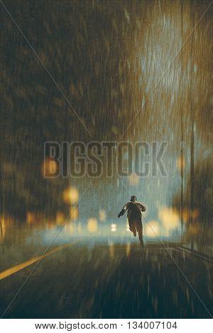 man running in heavy rainy night, illustration